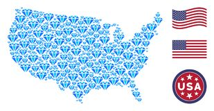 USA Map Mosaic of Diamond stock illustration