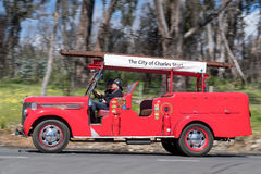 1938 Diamond T Firetruck. Adelaide, Australia - September 25, 2016: Vintage 1938 Diamond T Firetruck driving on country roads near the town of Birdwood, South Royalty Free Stock Image