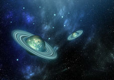 Diamond Terrestrial Planet With Ring. Diamond solid planets with ring in the space Stock Image