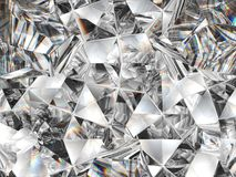 Diamond texture closeup and kaleidoscope. Top view of round gemstone 3d render, 3d illustration royalty free stock photography