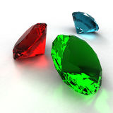 Diamond of three colors on a white background Stock Photo