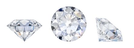 Diamond in three dimensions. 3d diamond in three dimensions. Side view, lying and top. 3d image. Isolated white background royalty free illustration