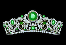 Diamond tiaha with emeralds Stock Photography