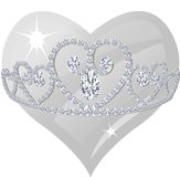 Diamond Tiara and Crystal Heart Stock Images