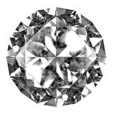 Diamond top view. A beautiful sparkling diamond on a light reflective surface. 3d image. Isolated white background Stock Photo