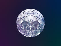 Diamond. Top View 3D Illustration on Color Background (with clipping path Royalty Free Stock Photography