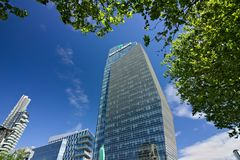 Diamond tower in Milano, modern buildings with curtain wall faca stock images