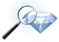 Diamond under magnifying glass Royalty Free Stock Photo