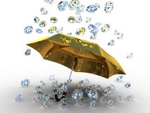Diamond under the umbrella golden Royalty Free Stock Photo