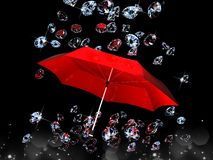 Diamond under the umbrella red on black background. 3D images Stock Photo