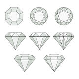 Diamond vector icons set. Royalty Free Stock Photo