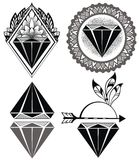 Diamond Vintage Hipster Labels dos diamantes Fotos de Stock Royalty Free