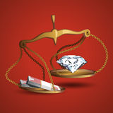 Diamond and wads of money hanging in the balance. Icon Royalty Free Stock Photo