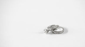 Diamond wedding band set Royalty Free Stock Photo