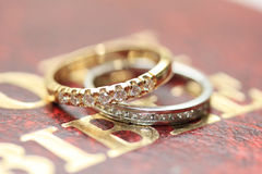 Diamond wedding bands Royalty Free Stock Photography
