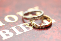 Diamond wedding bands. Two diamond wedding bands for a double bride wedding on the cover of the bible Royalty Free Stock Photos