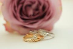 Diamond wedding bands Royalty Free Stock Photography