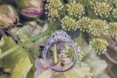 Diamond wedding engagement ring on natural romantic backgroun Royalty Free Stock Image