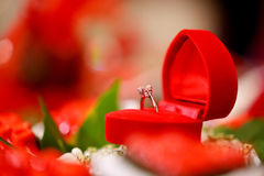 Diamond wedding ring in red heart box Royalty Free Stock Photography