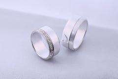 Diamond wedding rings. On white background royalty free stock photos