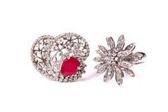 Diamond wedding rings Stock Photos