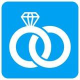 Diamond Wedding Rings Rounded Square-Roosterpictogram stock illustratie