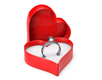 Diamond wedding rings in valentine box Royalty Free Stock Image