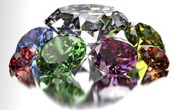 Diamond  on white background with clipping path.  Stock Photos