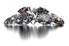 Diamond  on white background with clipping path Royalty Free Stock Images