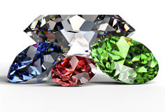 Diamond  on white background with clipping path.  Royalty Free Stock Images