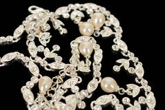 Diamond white gold necklace Stock Photo
