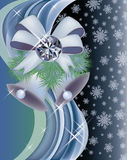 Diamond winter invitation card with xmas bells Royalty Free Stock Image