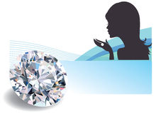 Diamond with a woman silhouette Royalty Free Stock Image