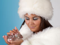 Diamond woman with winter fur Stock Image