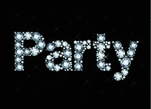 Diamond word Party. Word party made of shiny diamonds vector illustration