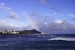 Diamondhead in the Afternoon. Hawaiian Seascape Royalty Free Stock Image