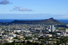 Diamondhead and the city of Honolulu, Kaimuki, Kahala, and ocean Royalty Free Stock Images