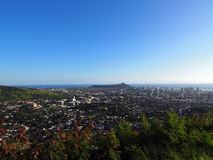 Diamondhead and the city of Honolulu, Kaimuki, Kahala, and ocean Royalty Free Stock Photography