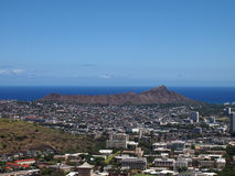 Diamondhead and the city of Honolulu of Oahu on a clear sky day Royalty Free Stock Images