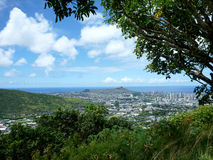 Diamondhead and the city of Honolulu on Oahu on a nice day Royalty Free Stock Image