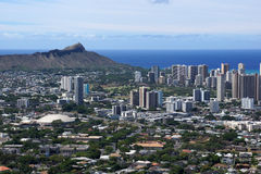 Diamondhead and the city of Honolulu on Oahu on a nice day Royalty Free Stock Images