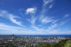 Diamondhead and the city of Honolulu on Oahu on a nice day Stock Photo