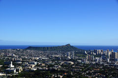 Diamondhead and the city of Honolulu on Oahu on a nice day Royalty Free Stock Photos