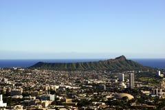 Diamondhead and the city of Honolulu on Oahu on a nice day Stock Photography