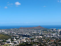 Diamondhead and the city of Honolulu on Oahu on a  Stock Photo