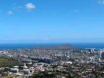 Diamondhead and the city of Honolulu on Oahu on a  Stock Photo