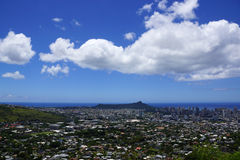 Diamondhead and the city of Honolulu on Oahu on a nice day Royalty Free Stock Photography