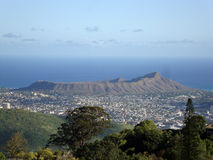 Diamondhead and the city of Honolulu on Oahu on a nice day viewe royalty free stock photos