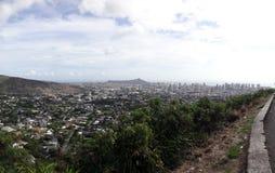 Diamondhead and the city of Honolulu on Oahu panoramic Royalty Free Stock Photography