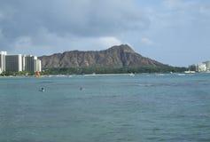 Diamondhead od Waikiki plaży Zdjęcie Stock